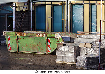 Skip on a construction site