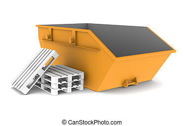Skip, Orange with some pallets. Isolated on white. Part of a...