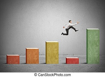 Skip the problem - Businessman skips the crisis with a jump ...
