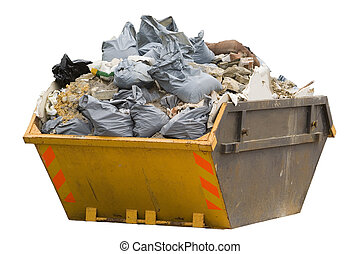 skip with refuse/trash sacks isolated - sideview - a skip...