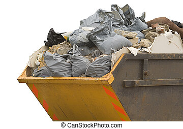 skip with refuse/trash sacks isolated - sideview - a skip ...