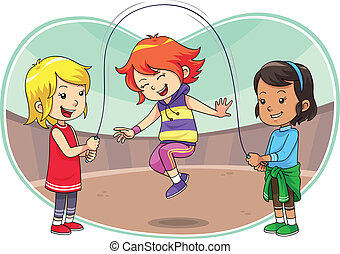 Skipping Jump Play - A group of children playing skipping...