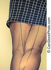 Skirt and stockings close up - Closeup of short skirt and...