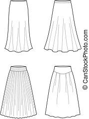 Skirt - Vector illustration of women's long skirts