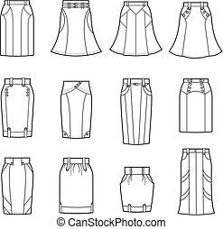 Skirt - Vector illustration of women's skirts