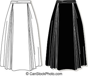 Skirt. Female clothes collection. Vector. - Skirt. Female...