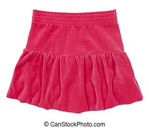 skirt., mujer, aislado, niño, blanco, o