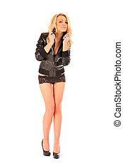 skirt., mulher, shortinho, lacy, excitado