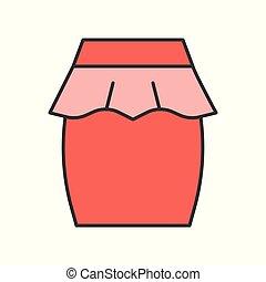 skirt vector, filled color outline editable stroke