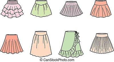 Vector illustration of women's summer skirts