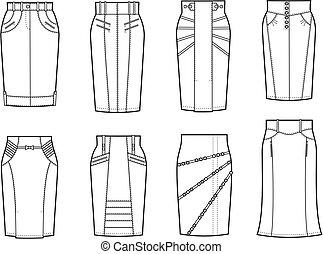 Vector illustration. Set of women's skirts