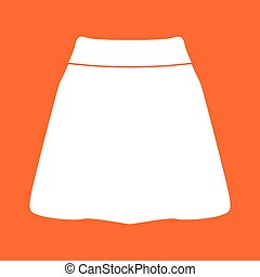 Skirt white color icon .