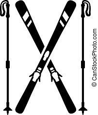 skis, à, bâtons