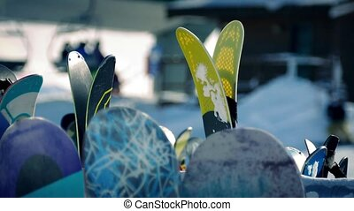 Skis And Boards At Resort - Closeup shot of skis and...