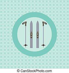 Skis and ski poles flat icon