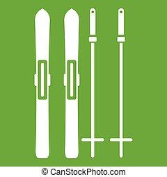 Skis and ski poles icon green