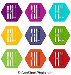 Skis and ski poles icon set color hexahedron