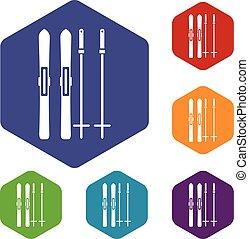 Skis and ski poles icons set