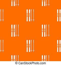 Skis and ski poles pattern seamless