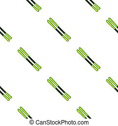 Skis icon in cartoon style isolated on white background.