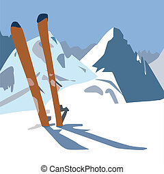 Skis in the mountain.