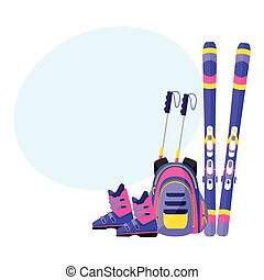 Skis, poles, boots and backpack, winter sport vacation elements