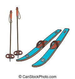 Skis with classic bindings and ski poles