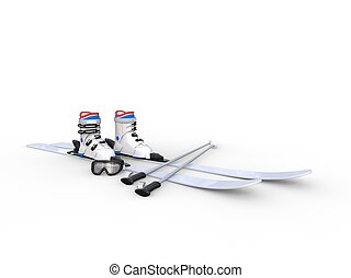 Skis with ski boots on white