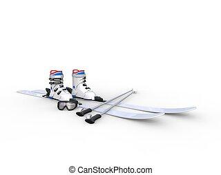 Skis with ski boots on white