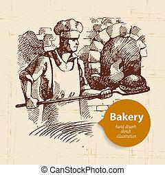 skiss, årgång, illustration, hand, bakgrund., bageri, ...