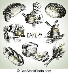 skiss, årgång, set., hand, bageri, illustrationer, oavgjord...