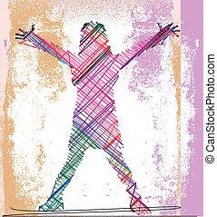 skiss, abstrakt, illustration, arms., vektor, flicka, öppna