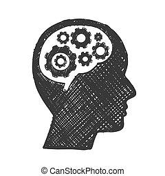 skiss, affär, drev, huvud, hjärna, man.