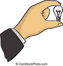 skiss, affärsman, holdingen, klotter, fodrar, isolerat, illustration, hand, vektor, svart fond, lök, liten, oavgjord, vit