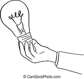 skiss, affärsman, holdingen, lätt, fodrar, isolerat, illustration, hand, vektor, svart fond, lök, oavgjord, vit