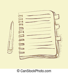 skiss, anteckningsbok
