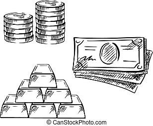 skiss, av, dollarräkningar, mynter, och, guld barrikaderar
