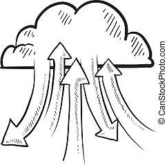 skiss, beräkning, moln, internet