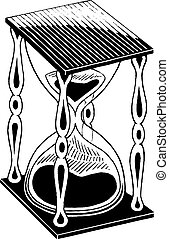 skiss, bläck, timglas