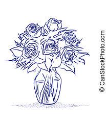 skiss, blomningen