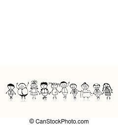 skiss, familj, stor, tillsammans, le, teckning, lycklig