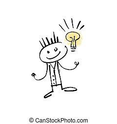 skiss, figur, klotter, idé, hand, käpp, mänsklig, teckning, lycklig