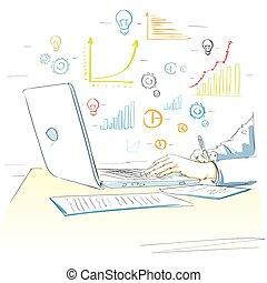skiss, finansiell graf, laptop, räcker, användande, teckning