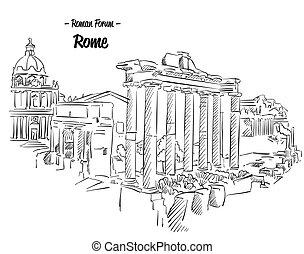 skiss, forum, berömd, romersk, rom, gränsmärke