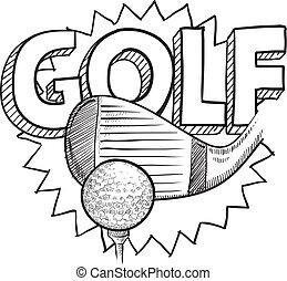 skiss, golf