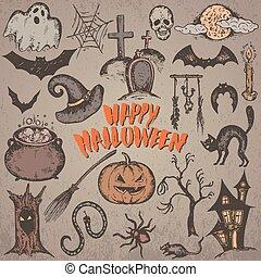 skiss, halloween, kollektion, tecken