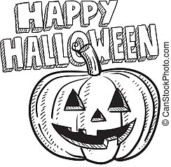 skiss, halloween, lycklig, pumpa