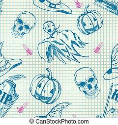 skiss, halloween, mönster, hand, tecken, oavgjord