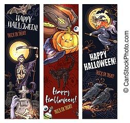 skiss, halloween, vektor, häxa, baner, odjur