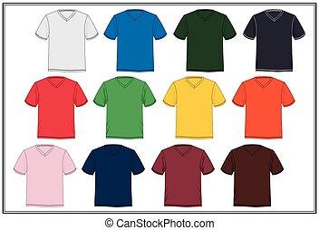 skiss, hals, färgrik, t-shirt, vektor, v